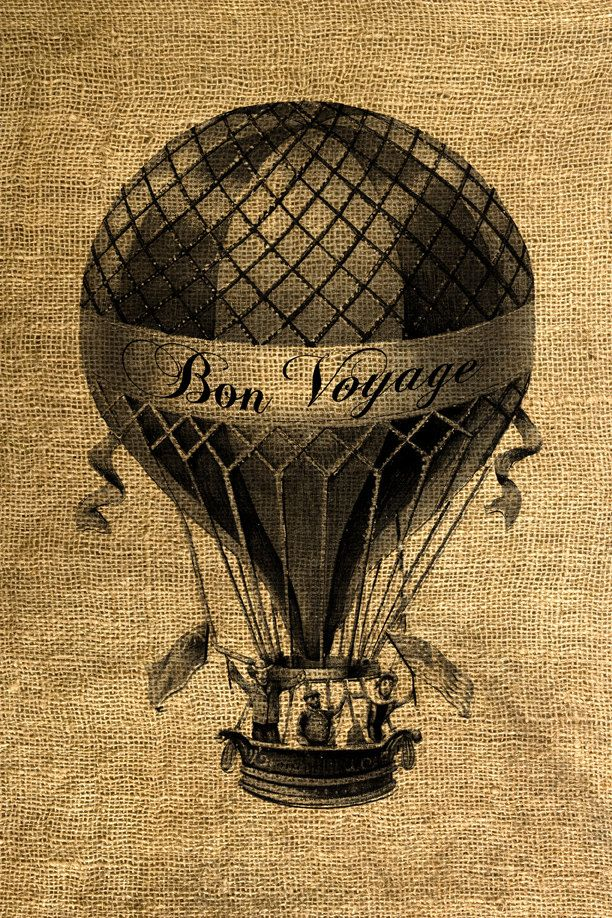 INSTANT DOWNLOAD Bon Voyage Hot Air Balloon Vintage ...