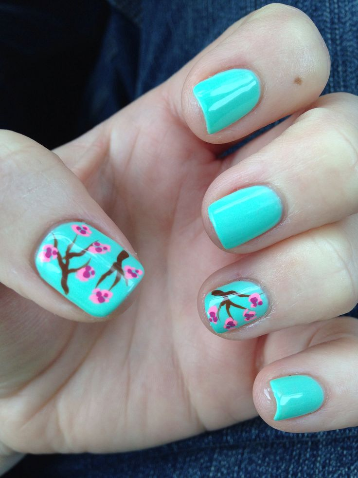 MOON RIVER by A Perfect Match with cherry blossom nail design. Shellac