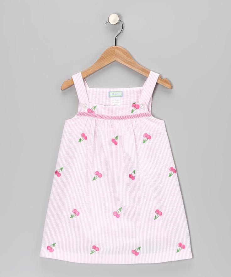 Pink Seersucker Cherries Babydoll Dress Infant Toddler