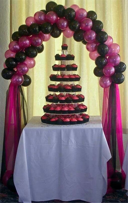 Cake arch balloons pinterest for Balloon decoration for birthday party philippines