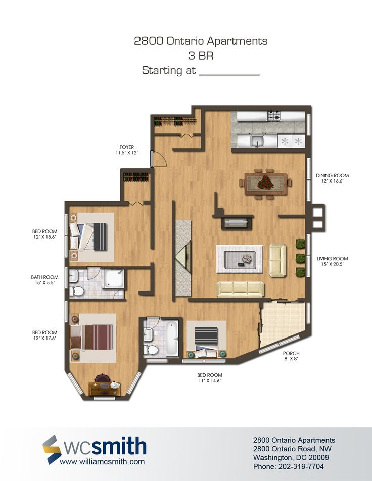 3 Bedroom Floor Plan 2800 Ontario In Northwest