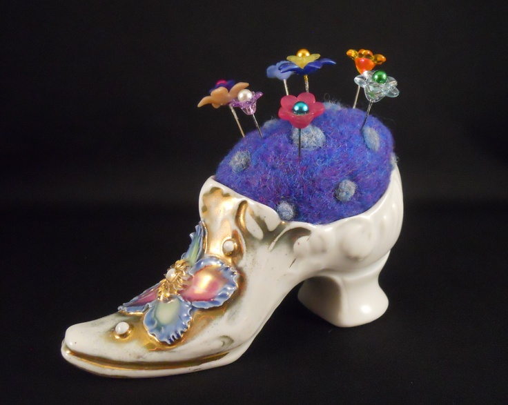Needle Felted Pin Cushion in Vintage Shoe by Tami Medwid
