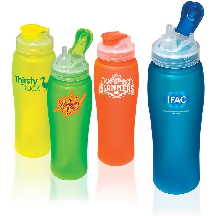 Frosted Neon Bottle. 23 oz. PCTG water bottle with rubberized coating