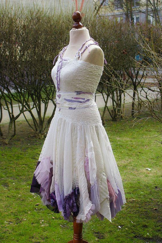 Alternative Wedding Dress Mori Girl Romantic Tattered Ivory Lilac Vio