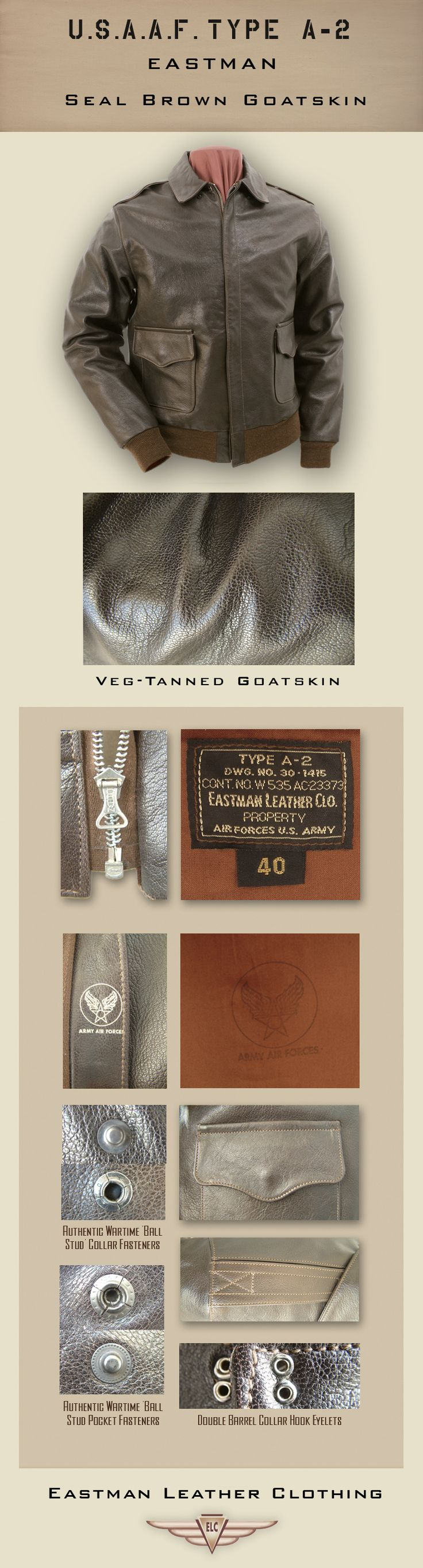 Clothing - US Flight Jackets : USAAF Eastman Leather Jackets : A-2sgs