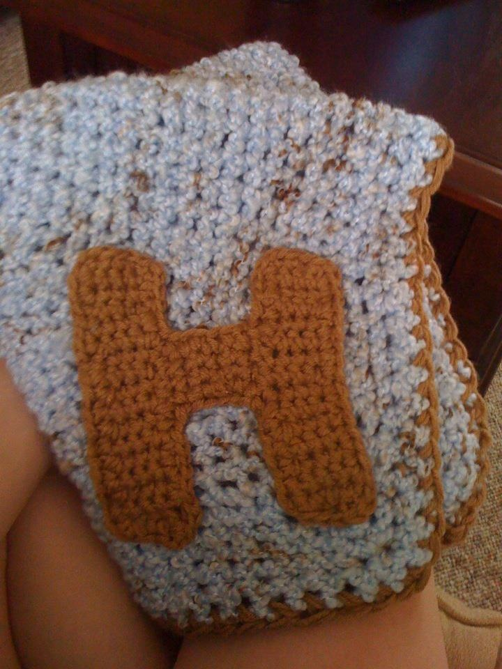 Crocheting Letters On A Blanket : Crochet baby blanket with the letter H Hh Pinterest