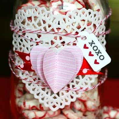 This little jar is an easy quick gift idea for teachers, neighbors, co-workers....etc. All you need is a Mason jar (any glass jar will do), snacks (nuts, pretzels, M, popcorn), paper scraps, lace paper doilie (heart), ribbon, baker's twine & a cute tag.