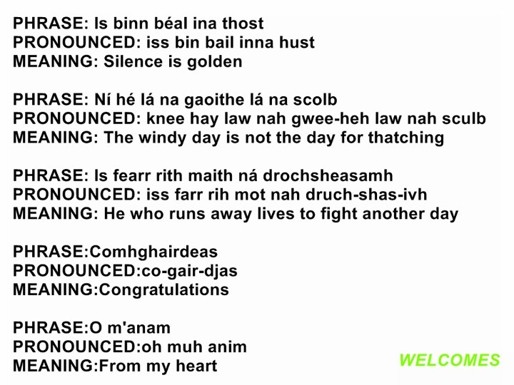 gaelic phrases A collection of useful phrases in scottish gaelic, a celtic language spoken mainly in scotland, and also in nova scotia in canada.