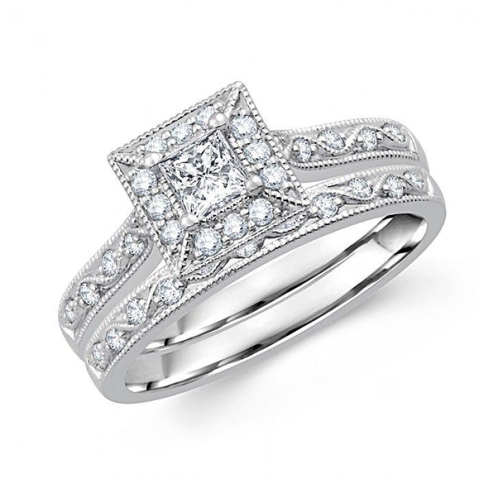 ... Ringssquare-shape-princess-cut-diamond-bridal-set-los-angeles