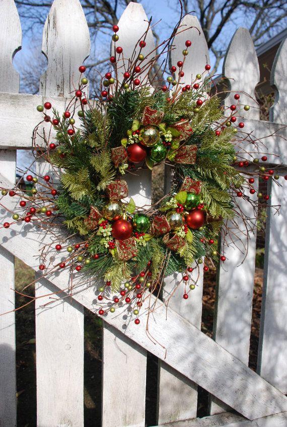 Christmas front door wreath front door wreath holiday for Front door xmas wreaths