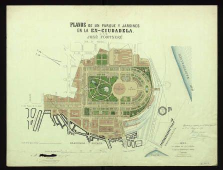 Plano de un parque y jardines en la ex-ciudadela :: Mapes (Biblioteca de Catalunya)