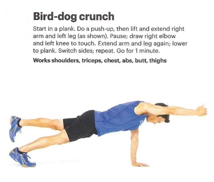 BIRD-DOG CRUNCH | Abdominal Exercises | Pinterest