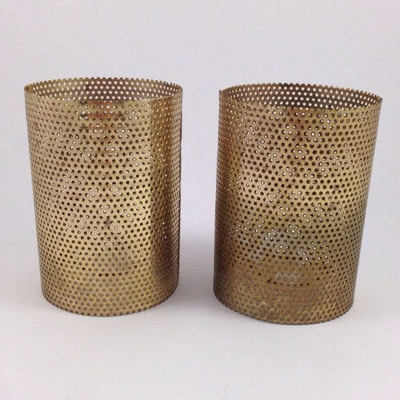 vintage perforated metal lamp shade pair. Black Bedroom Furniture Sets. Home Design Ideas