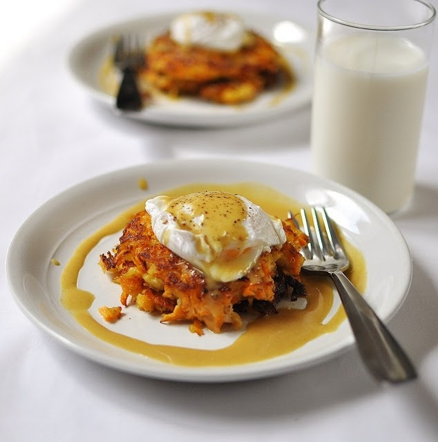 Apple & Sweet Potato Cakes with Poached Egg and Sweet Mustard Sauce