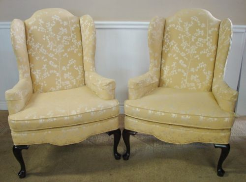 Slipcover wingback chair - Ethan Allen Traditional Classics Wing Back Chairs Pair Of Fireside C