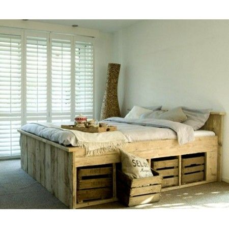 Crate pallet storage bed pallet project pinterest for Pallet bed with storage plans