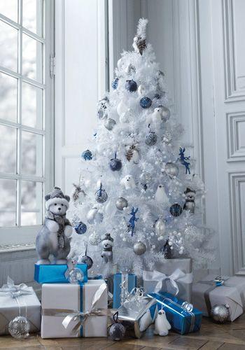 No l bleu et blanc deco noel pinterest - Deco table noel bleu et blanc ...