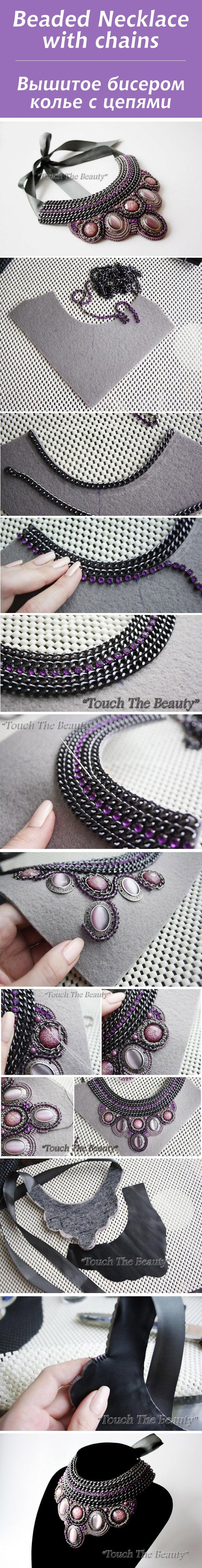 ������� ������� ����� � ������ / Beaded Necklace with chains #bead #tutorial