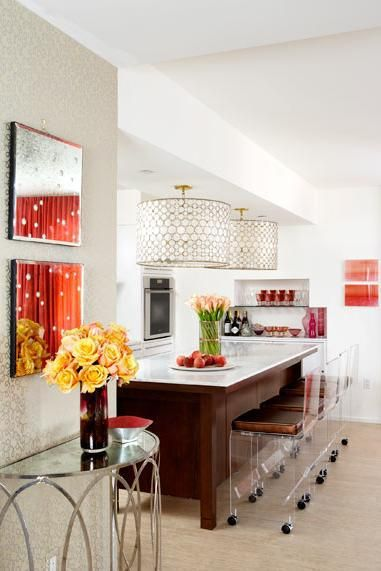 white and coral kitchen with chandelier  Kitchen Ideas  Pinterest