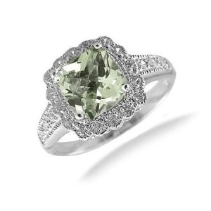 #4: 7MM Cushion Cut Green Amethyst Ring In Sterling Silver 1.50 CT (Available In Sizes 5-9).
