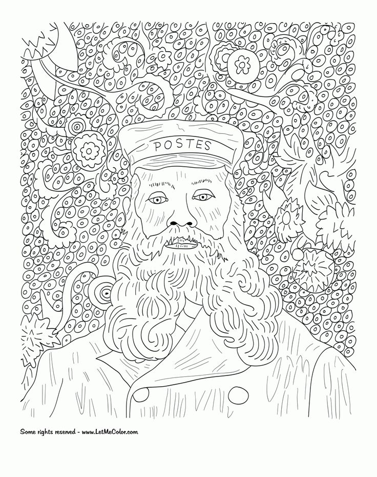 free famous painting coloring pages - photo#32