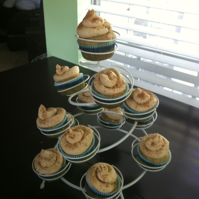 Martha Stewarts banana cupcakes with honey cinnamon frosting!