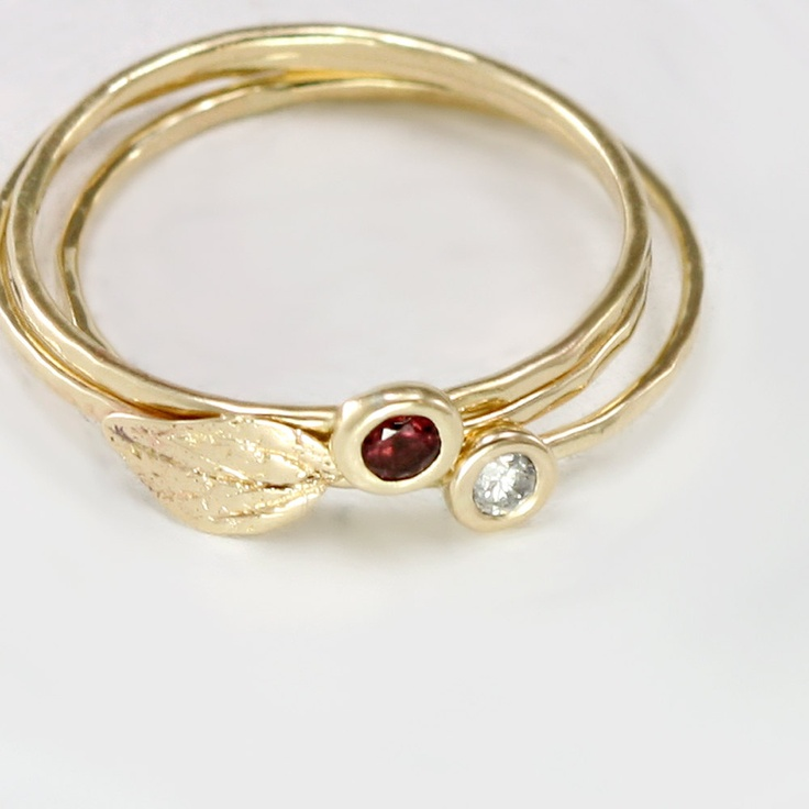 gold leaf ring 14k yellow gold stacking ring with thin