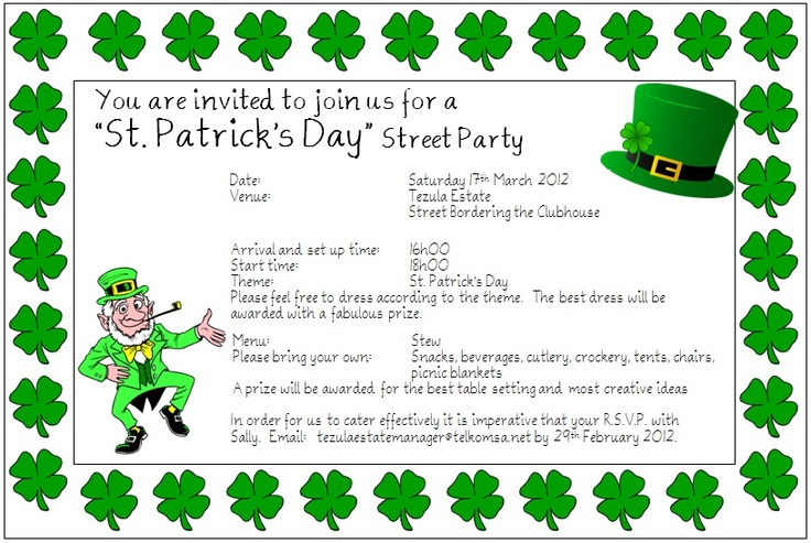 St Patrick Day Invitations with great invitation template