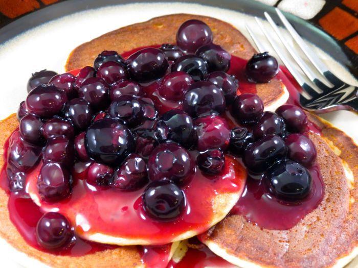 Lemon Ricotta Pancakes with Homemade Blueberry Sauce