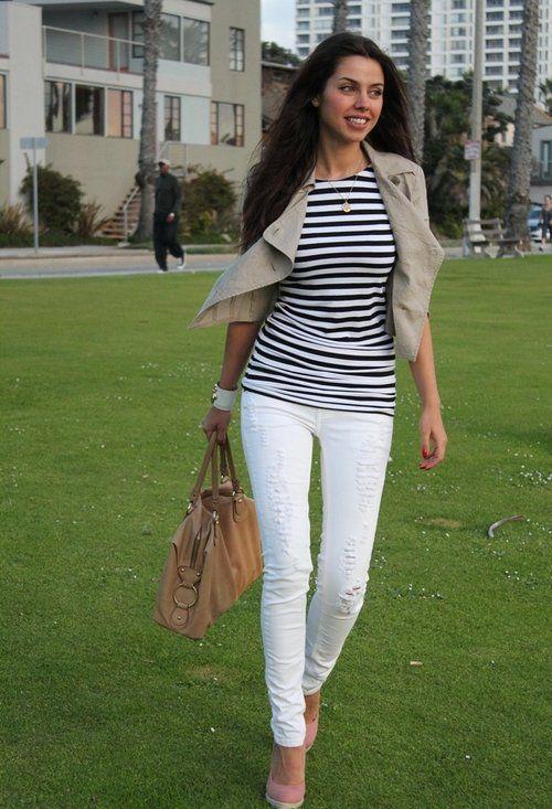 Stripes on Santa Monica  , Zara en Camisetas, J Brand en Jeans, Forever21 en Chaquetas, Bamboo en Tacones / Plataformas, Tod's en Bolsos