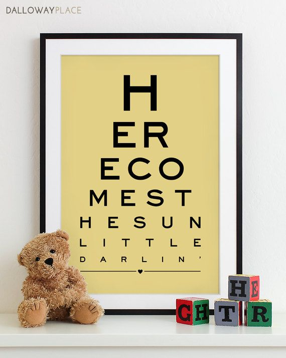 Baby Nursery Art Print Eye Chart - typography poster kids wall art decor nursery wall art boy girl baby gift - Here Comes The Sun 12x18 ordered it in orange and white!
