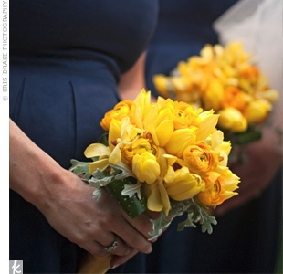 Navy Blue Bridesmaid Dress on Yellow Bridesmaids Bouquets Against Navy Blue Dresses  Ranunculus