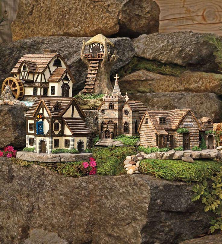 Miniature fairy village church teenie tiny pinterest - The tiny house village a miniature settlement ...