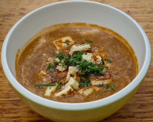 Curried Carrot & Lentil Soup with Haloumi Croutons