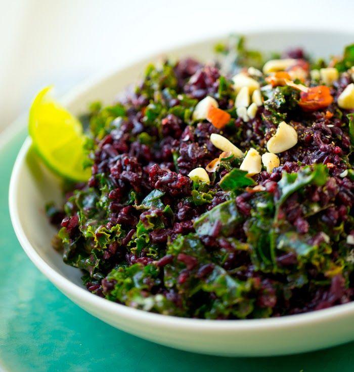 Easy Peanut-Kale Black Rice Bowl | Appetizers/Snacks | Pinterest