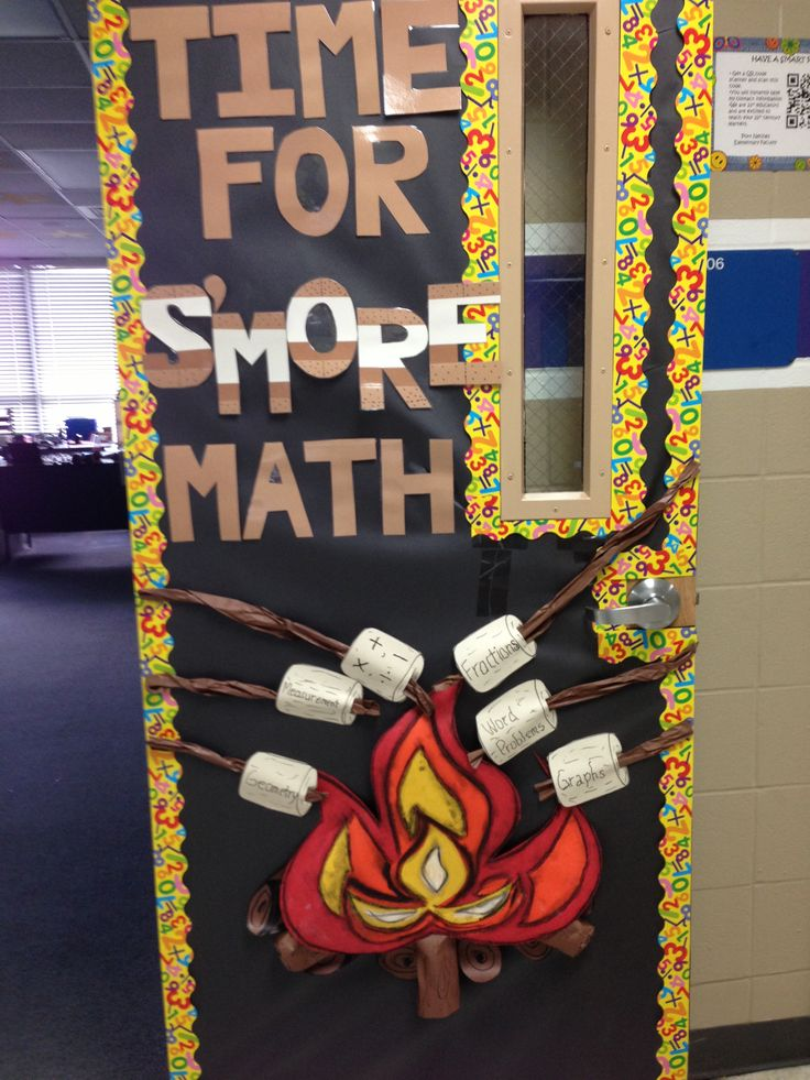 Math And Science Classroom Decorations : Door decoration camping theme classroom pinterest