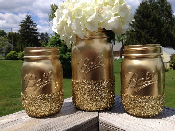 3 Shining gold glitter mason jars vase centerpiece by JaxandJos