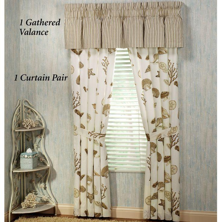 Curtains Ideas beach theme curtains : Beach Theme Kitchen Curtains   Treasures By Sea Taupe Tailored Curtain ...