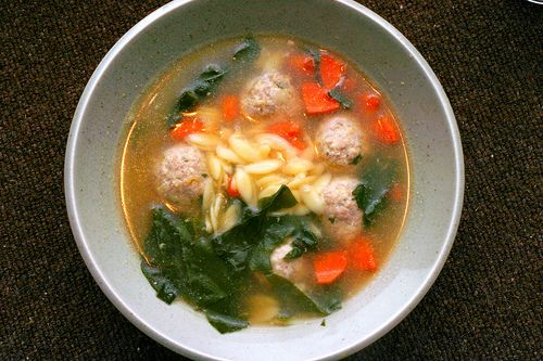 Wedding Soup (which my kids actually like) but with turkey meatballs ...