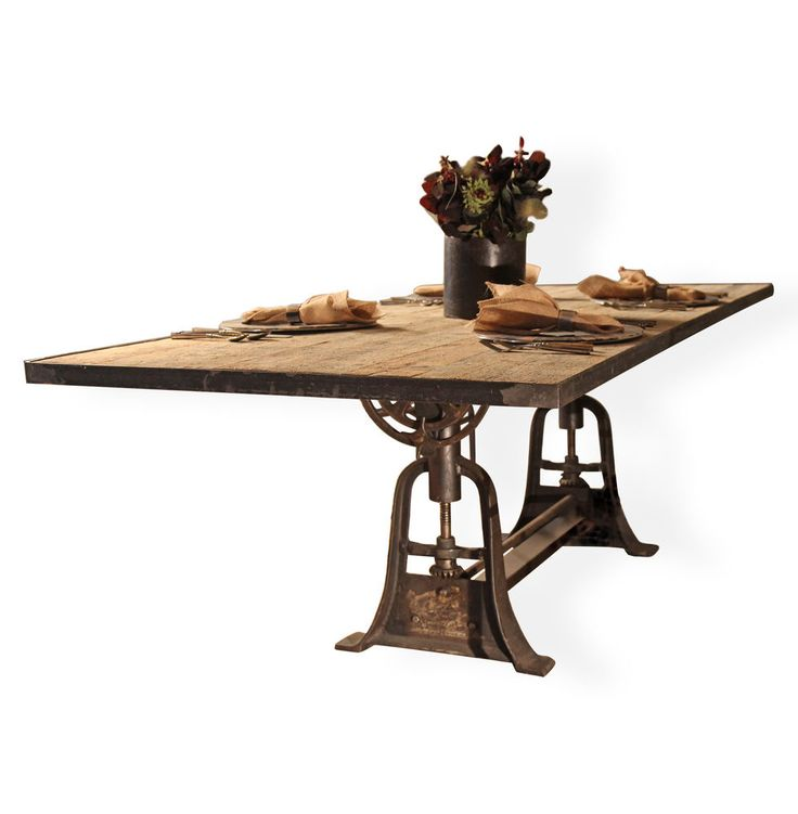 Monterrey industrial loft iron reclaimed wood adjustable dining table