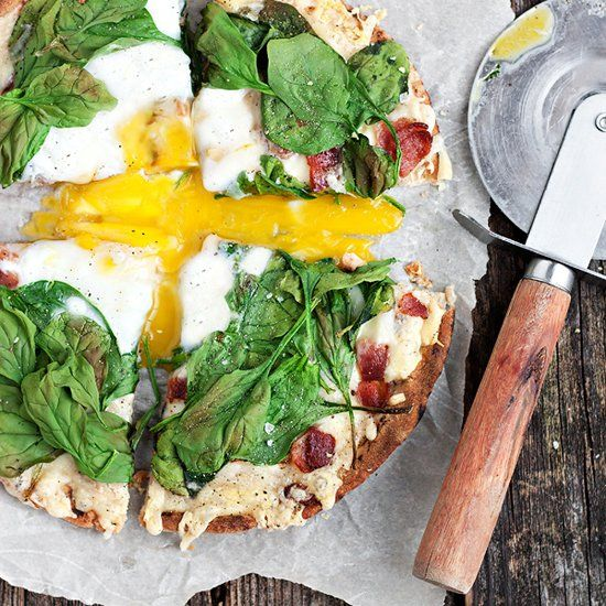 Fontina, Bacon and Spinach and Egg Breakfast Pita Pizza - the most ...