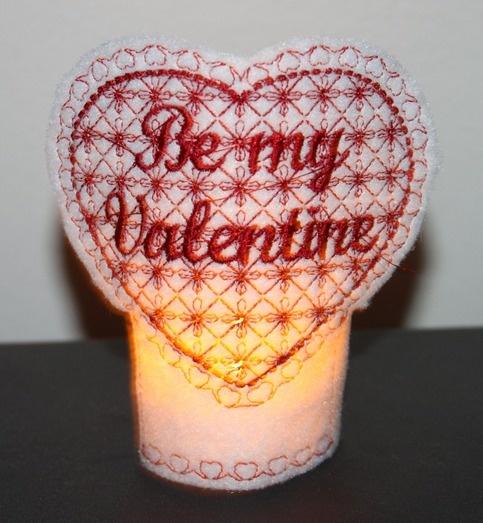 Be my valentine tea light machine embroidered tea light included