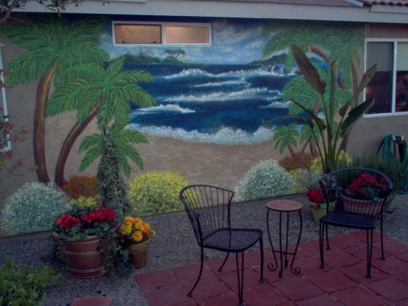 Backyard wall mural backyard pinterest for Backyard mural ideas