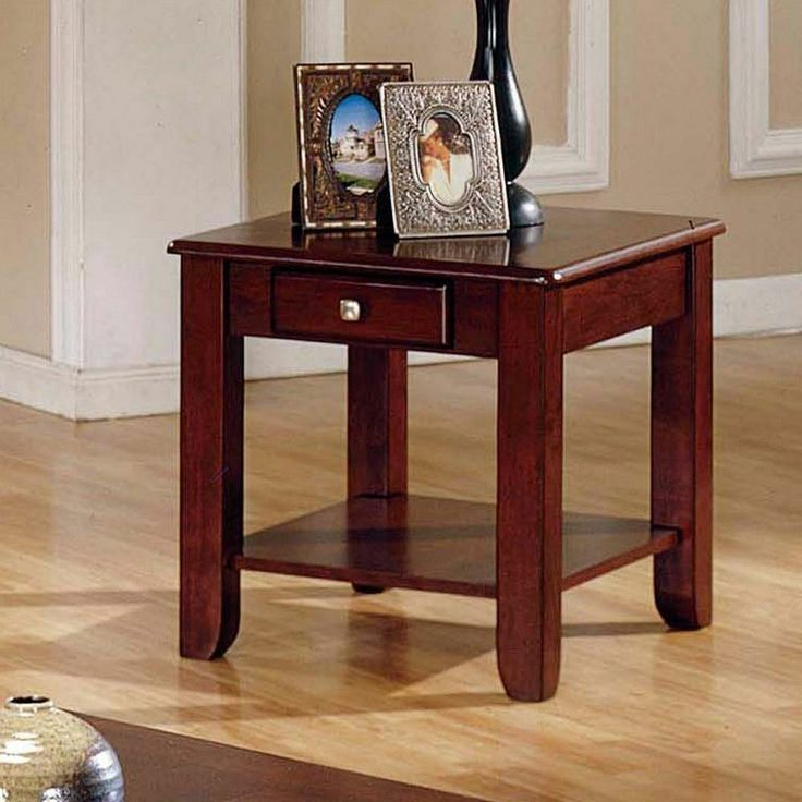 Logan Cherry Wooden End Table Storage Drawer Shelf Living Room Furniture Chair