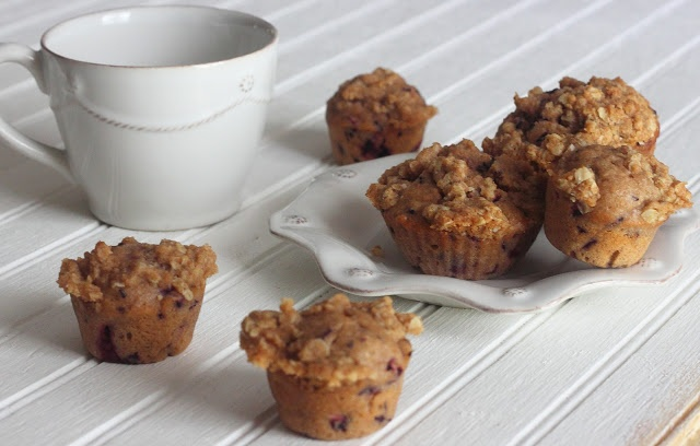 Whole Wheat Blueberry Muffins with Oat Streusel Crumb Topping