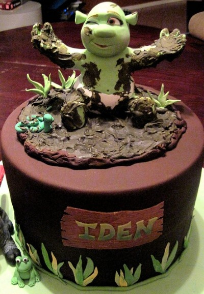 Shrek cake idea - like the design with Shrek instead of a baby ogre