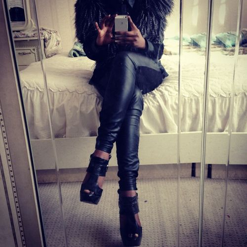 Leather pants, fur & wedges