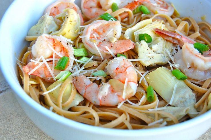 Shrimp Scampi Linguine with Artichokes and Lemon
