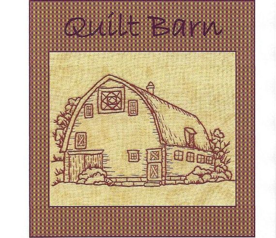 Embroidery Patterns For Quilt Squares : Quilt Barns Square on Point Block - Redwork Hand Embroidery Pattern