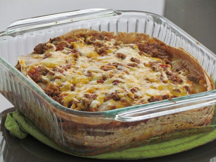 Burrito Pie recipe - made as enchilada pie to make it GF. Excellent ...